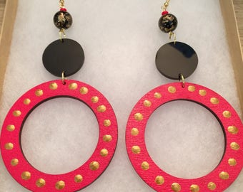 Red, Black and Gold 4.5 Hand Painted Wood and Acrylic Earrings