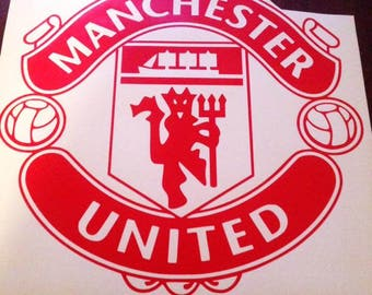 Manchester United F.C. Badge Wall Art Vinyl Decal Sticker Football Club Sport Soccer Mural Die Cut
