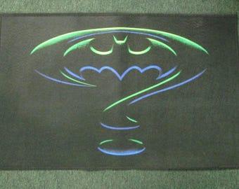 Batman Forever Movie Riddler Bat Symbol Welcome Door Mat Rug Couristan Rare