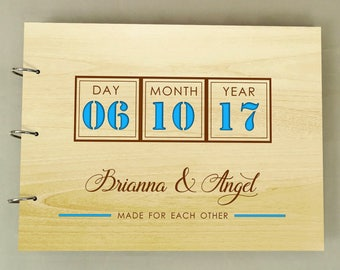 Personalized Wedding Guestbook, Guest Book Wedding, Wood Rustic Wedding Guest Book, Custom Wedding Guest Book, Bridal Shower Gift PGB84