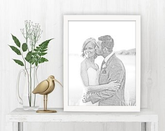 Personalized wedding gift, Calligram photo fine art print, Custom caligram from photo, text portrait with vows, Create a photo from text