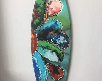 Flower painting - surf painting - painted surfboard - surf decor - replica surfboard - surf wall art