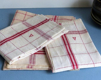 French Vintage Linen Tea Towels, Kitchen Towels, Tea Towels, Red Stripe Linen Tea Towels, Set of 3 Tea Towels, Country Kitchen, CHRISTMAS,