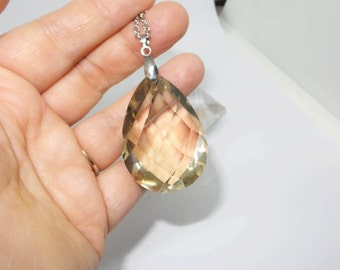 With great slightly smoky AAA quality faceted rock Crystal Necklace