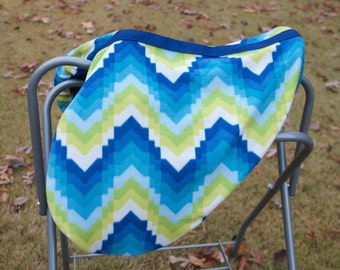 Custom AP English Saddle Cover - Blue, green and white Saddle Cover