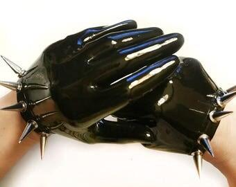 Short Latex Gloves with Spikes Handmade by Lara Larsen