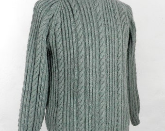 Green Wool Vintage Hand Knitted Aran Sweater  Size S - M