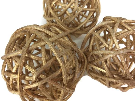 Rattan ball small gold craft handmade wedding decorative