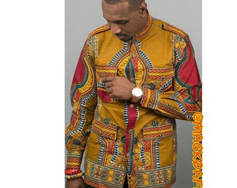 African mustard/Red Dashiki button up long sleeves with unique pockets