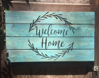 Welcome Home Rustic Carved Pallet Sign - Rustic Decor