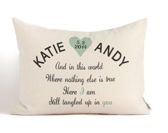 Custom Phrase Anniversary Gift, Housewarming, Two Year Anniversary, 2nd Anniversary, Gift for Her, Gift for Him, Throw Pillows, Home Decor