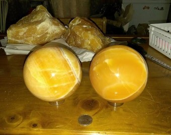 SALE  Gorgeous Large Orange Calcite Spheres (your choice)