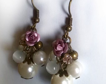 White Pearl Cluster Earrings With Clear Rhinestones (soft pink shade)