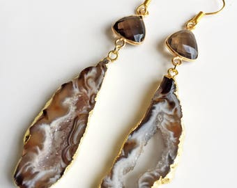 Topaz Agate Slice Earrings