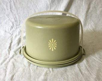 Vintage Avocado Green Tupperware Tall Cake Dome and Carrier