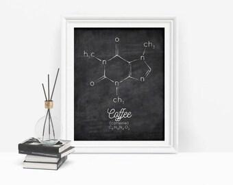Coffee Printable, Molecule Printable, Caffeine Print, Chemistry Art, Science Poster, Organic Chemistry, Digital Download
