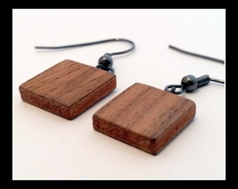 mahogany walnut square pendant earrings anniversary gift handmade wood jewelry