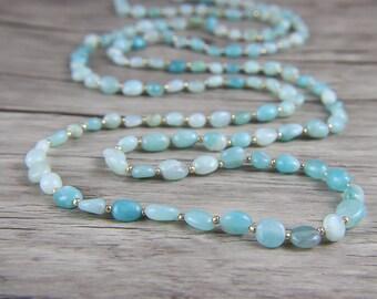 Raw Amazonite bead Necklace Blue Bead Necklace BOHO Gemstone Necklace Summer Necklace Chic Long Bead Necklace Long Necklace Jewelry NL-042