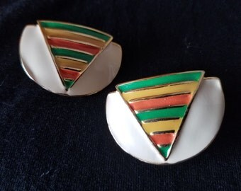 Vintage Enamel Earrings - Gold Tone