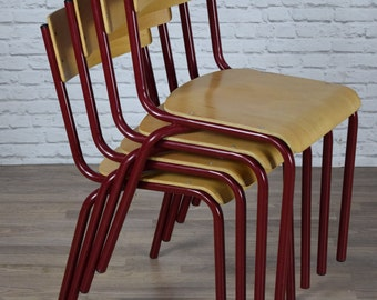 Vintage Style Industrial Stacking Stackable Dining Restaurant Cafe Bar Chairs