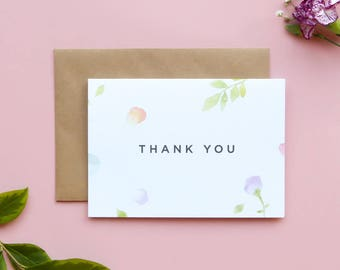 Thank you Card/Amelia Thank You Card/Floral Thank You Card/Watercolour Thank You Card/Wedding Thank You Card