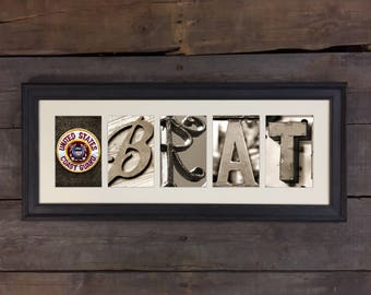 Coast Guard Brat,  USCG Gift, Coast Guard Family Letter Art Sign, Architectural Letter Art - Proud to be Coast Guard Brat