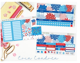 July Monthly View - Perfect for Erin Condren - Plum Paper - July Stickers - July Monthly Kit - Monthly View - 4th of July Stickers - JUL001