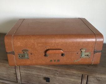 Vintage Suitcase; Brown Leather Skyliner Luggage; Brown Leather Suitcase; Vintage Luggage; Leather Suitcase