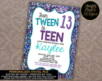 Tween to Teen Birthday Party Invitation - 13th Birthday Party Invitation