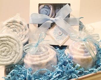 Baby Boy Gift Basket  - Short Sleeve Bodysuit Cupcake Gift   Baby Shower Gift, New Baby Gift