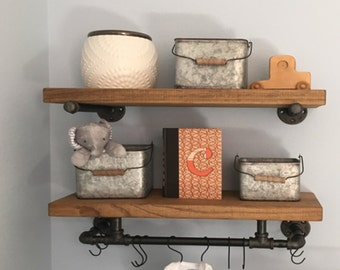 "Set of 2 - Bathroom Industrial Floating Shelves with towel bar.  8"" deep, Rustic Wall Decor, Farmhouse & Kitchen Wall Storage, Rustic Shelve"
