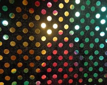 Multi Color Foil Dots on Black Non-Stretch Velvet Fabric
