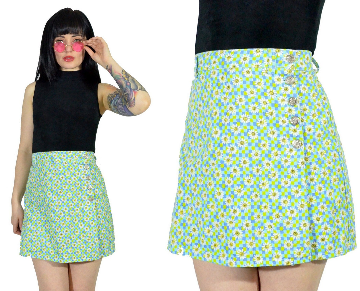 vintage 90s daisy SKORT floral MOD mini skirt shorts 90s does