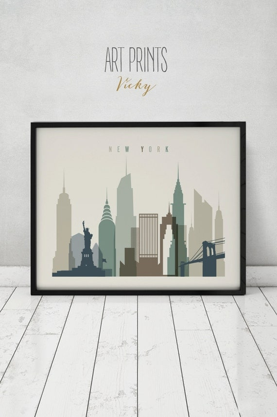 New York Art Print Poster Wall Art Cityscape New York