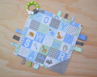 Taggie, Crinkle Sound, Sensory, Activity, Teething, Minky Blanket- Baby Boy Blocks