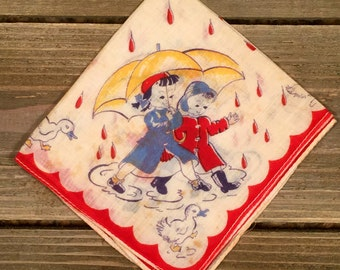 Vintage (1940's) Children's Handkerchief - Children with Umbrella