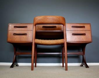 SOLD: Mid Century G Plan Fresco Teak Desk Console Table Retro Vintage Danish Influence 50s 60s 70s