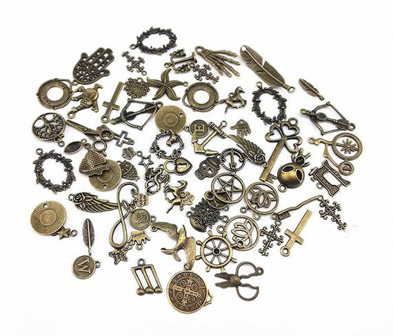 assorted antique charms pendant 100 grams approx 70pcs great