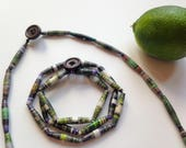 Green PAPER BEAD Necklace / Haitian made recycled paper beads / Paper bead bracelet / Fair trade jewelry / Green bracelet / Free shipping!