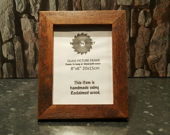 """Rustic reclaimed wood 8"""" x 6"""" photo picture frame oak stained"""