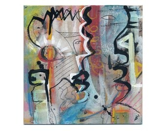Original paintings abstract art 15/15 cm (5.9/5.9 inch)