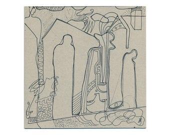 Original drawing 20/20 cm (7.87/7.87 inches) Handgezeichnetes unique