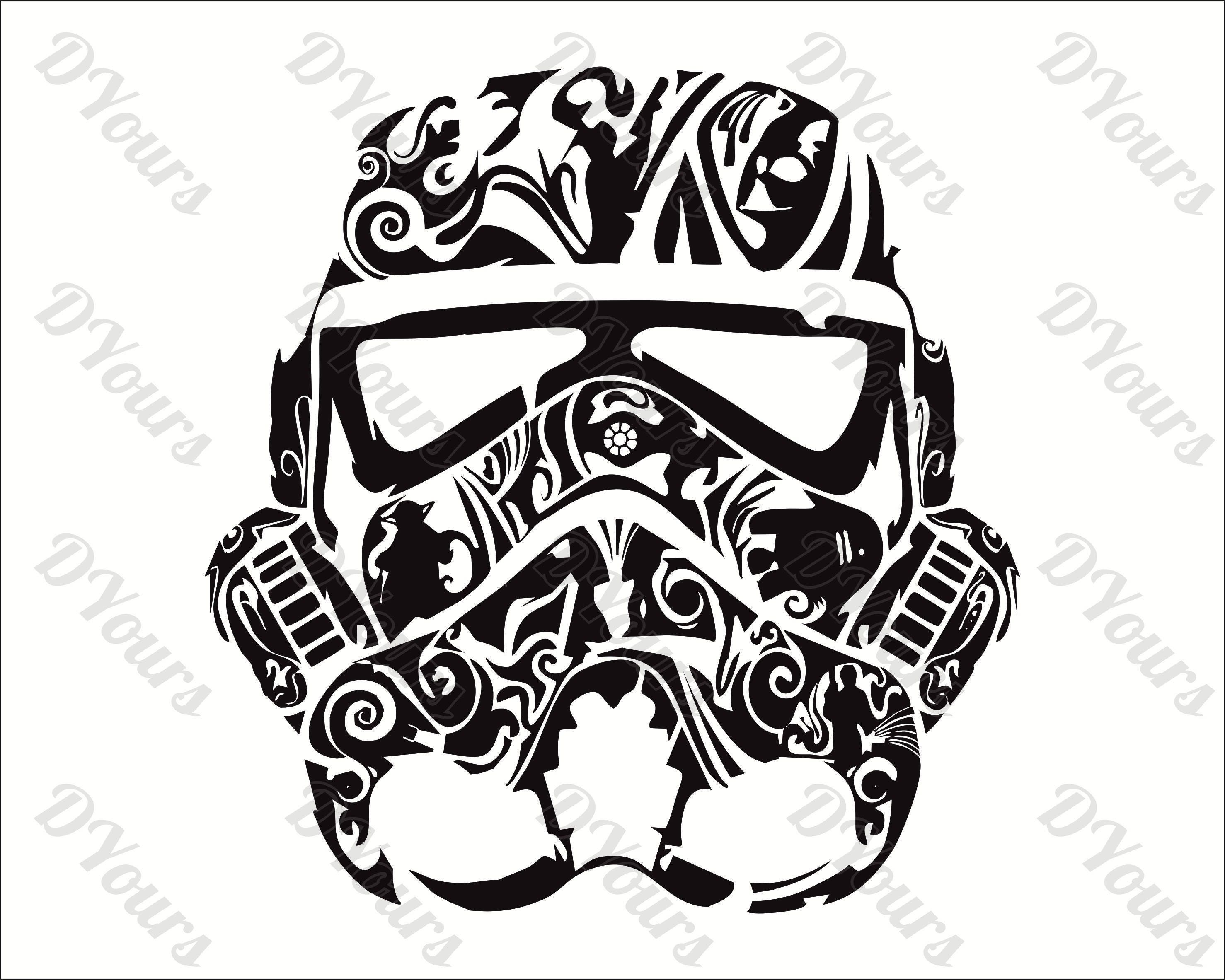 Stormtrooper Star Wars Abstract Floral Vector Model Svg