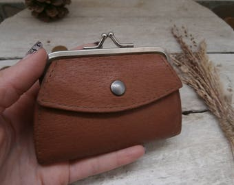 Vintage Brown Leather Coin Purse, Small Lady Clutch Purse, Coin Pouch, Traditional Bulgarian Retro Coin Purse from 1970s