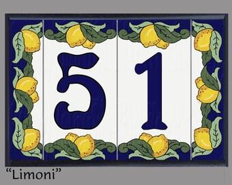 Framed House Number Address Tiles, Italian Style, Nouveau, Lemons, Limoni, Housewarming, Realtor Closing Gift, Christmas Gift, Curb Appeal