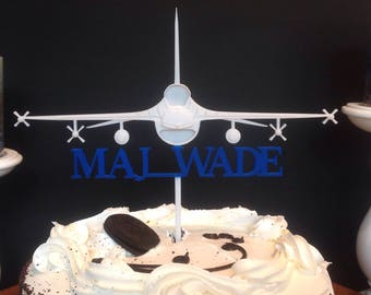 Customized F16 Jet Fighter Cake Topper