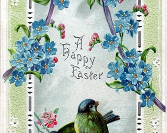A Happy Easter - Beautiful antique card showing little blue birds and forget me not flowers, embossed - date on back 1913 - Vintage Postcard