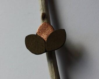 Ring leather khaki & copper