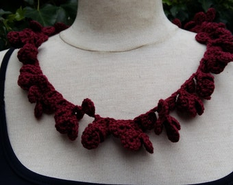 Bordeaux red crochet necklace