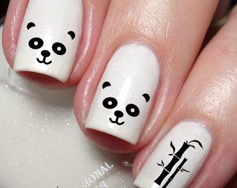 Nailodia etsy studio panda bamboo nail art sticker water transfer decal 040 prinsesfo Gallery